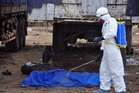 A body, suspected of carrying Ebola, is sprayed with disinfectant in Liberia. Photo / AP