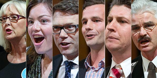 Candidates from left: Christine Rankin, Julie Anne Genter, Paul Goldsmith, David Seymour, Michael Wood and Patrick O'Dea. Photo / NZ Herald