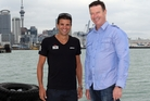 Triathlete Terenzo Bozzone and Ports of Auckland CEO Tony Gibson (right) at the Port of Auckland in Auckland.