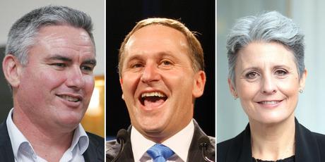Labour Party candidate Kelvin Davis, left, Prime Minister John Key and Internet Party leader Laila Harre.