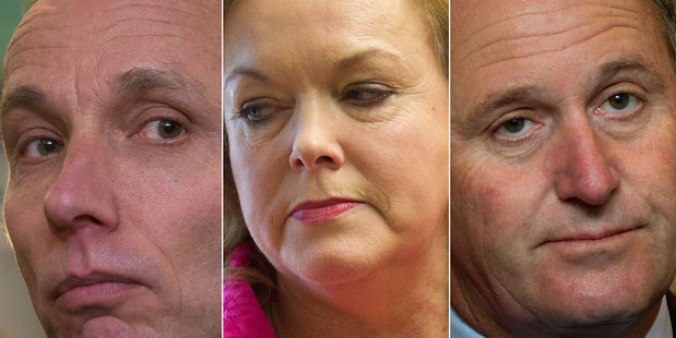 From left: Nicky Hager, Judith Collins, John Key. Photo / NZ Herald