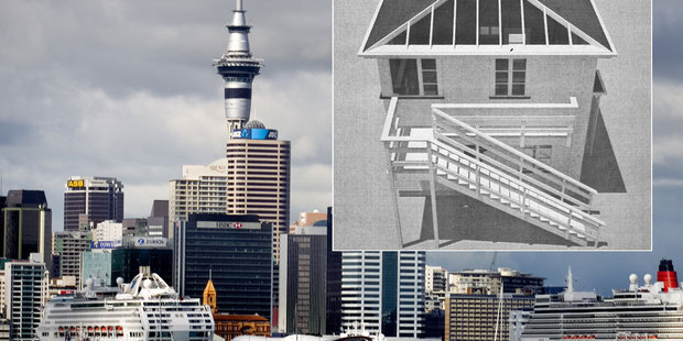 An early image of Michael Parekowhai's state house sculpture, which will have a skylight to allow cruise ship visitors at Queens Wharf to see inside.