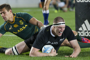 All Blacks lock Brodie Retallick celebrates a try against South Africa. Photo / Greg Bowker