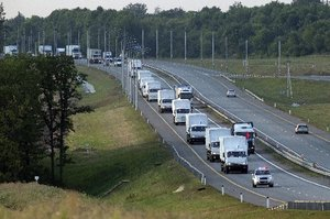 Russia says the convoy of trucks is carrying humanitarian aid for Ukraine. Photo / AP