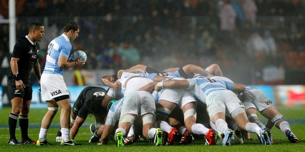 Argentina base their game around a powerful set-piece. Photo / Christine Cornege
