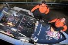 HOT BOAT: Tauranga Jet sprint driver Tristan Hynds (right) and his navigator Matthew Fagan.PHOTO/JOHN BORREN