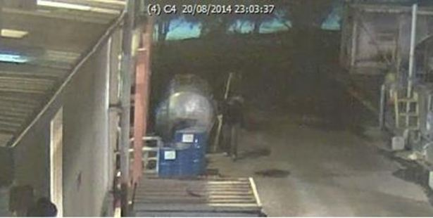 Two men were caught on CCTV footage syphoning hypophosphorous acid from a Mount Maunganui commercial chemical yard. PHOTO/SUPPLIED