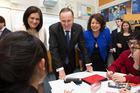 Prime Minister John Key during his visit to Mt Roskill Grammar School. Photo / Brett Phibbs