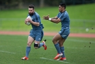 Ryan Crotty, left, and Malakai Fekitoa at training yesterday ... one of the two will  likely be replacing the injured Ma'a Nonu in Saturday night's  second Bledisloe Cup test. Photo / Brett Phibb