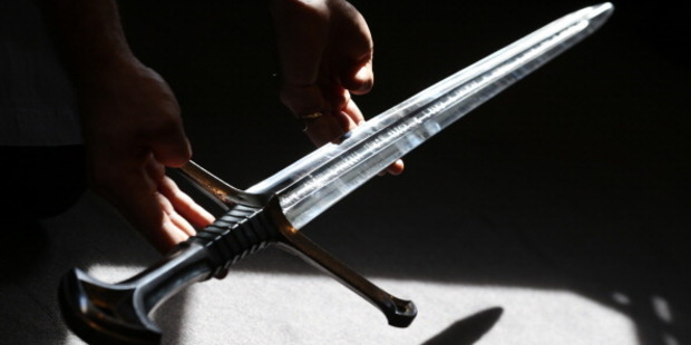 A prop from the 'The Lord of the Rings' movie trilogy. A replica sword was used in the alleged attack. Photo / Getty