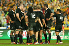 Richie McCaw talks to his side during their 12-12 draw with Australia. Photo / Getty Images