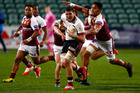 Jordan Manihera of North Harbour is tackled during the round two ITM Cup match between North Harbour and Southland. Photo / Getty Images