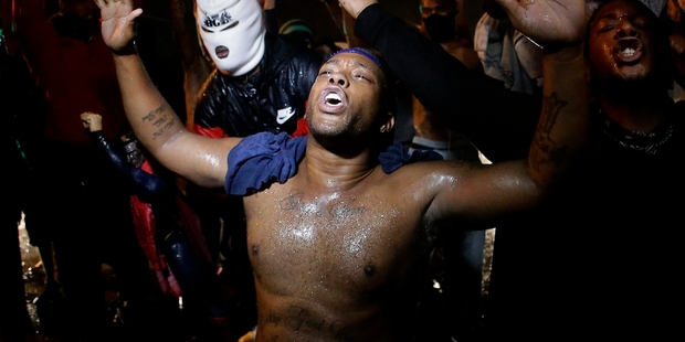 The protesters have chanted, marched, shouted, danced on vehicles and have remained peaceful for most of the protest.