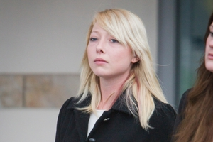 Juliette Anne Gerbes outside court yesterday. Her first manslaughter trial in February ended with a hung jury.