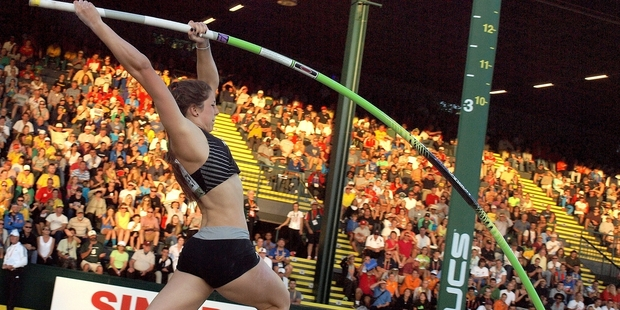 Takapuna Grammar School student Eliza McCartney holds the national women's pole vault record.