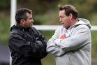 Steve Hansen (right) says the door's open for Wayne Smith's return so it should be a done deal. Picture / Getty Images