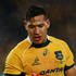 Australian fullback Isreal Folau didn't get much room to move in the match. Photo / Getty Images