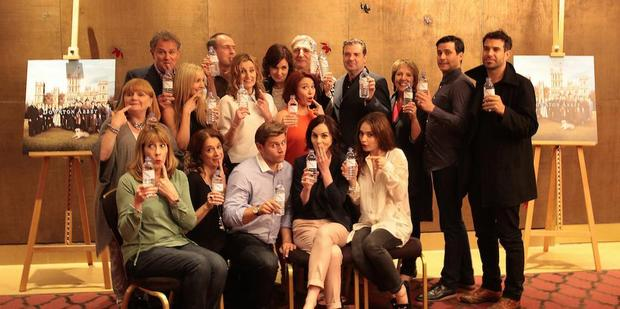 The cast of Downton Abbey respond to their water bottle photo mishap. Photo/Twitter