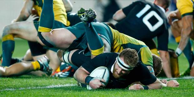 Kieran Read scores for the All Blacks in the second Bledisloe Cup test in Auckland. Photo / Getty Images