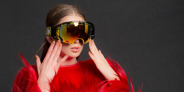 Prada dress, $14,300. Oakley goggles, $300. Meadowlark lip ring, $295. Photo / Greg Bowker