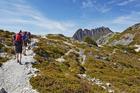 Hiking on Cradle Mountain in Tasmania.