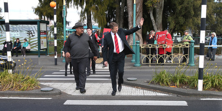 Labour Leader David Cunliffe on tour in Tauranga. PHOTO/JOHN BORREN