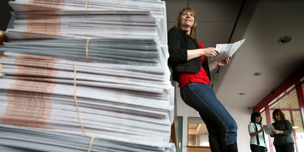 Tauranga Electoral Office registrar Lesley Christophers sorting through a pile of electoral forms. PHOTO/ANDREW WARNER