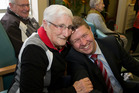 Labour leader David Cunliffe is grabbed by Vilma Brooking during his visit to Wesleyhaven Retirement Village in Lower Hutt. Photo / Mark Mitchell