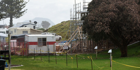 A human skeleton has been found during construction work at the Papamoa Beach Top 10.