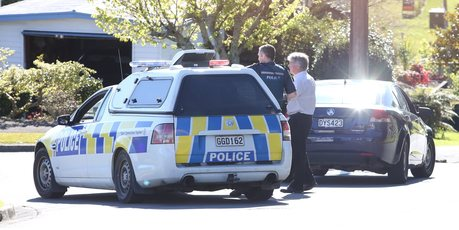 Police search for an offender after a shop was robbed on Cameron Rd. PHOTO/JOHN BORREN