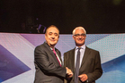 Scotland's First Minister Alex Salmond, left, with leader of the pro-Union Better Together campaign Alistair Darling . Photo / AP