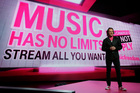 T-Mobile CEO John Legere talks about the service provider's new music streaming service that allows users to stream music without sapping their data allowance. Photo / AP