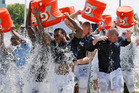 Tennessee Titans players taking part in the ALS Ice Bucket Challenge after NFL football practice in Nashville. Photo / AP