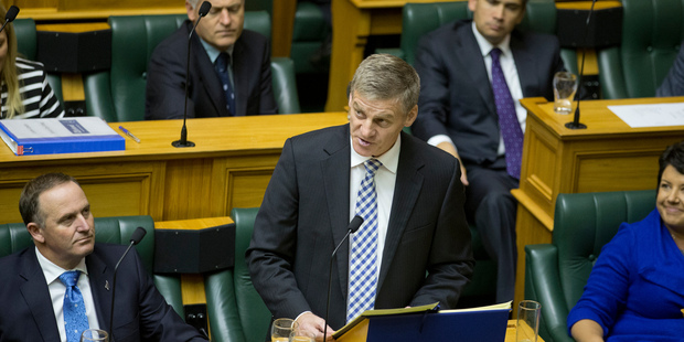 Finance Minister Bill English reading his 2014 Budget in Parliament. Photo / Mark Mitchell
