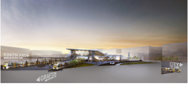 An artist impression of the upgrade to Mt Eden rail station to be built as part of the City Rail Link.