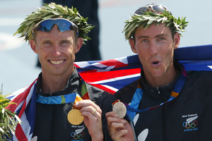 Hamish Carter and Bevan Docherty celebrate after a Kiwi one-two at the Athens Olympics. Photo / Mark Mitchell
