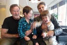 Robin Williams with Vincent Ward and his children Ariel and Finch.