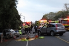Emergency services at the scene of Friday afternoon's crash on State Highway 10. Photo/ Peter de Graf