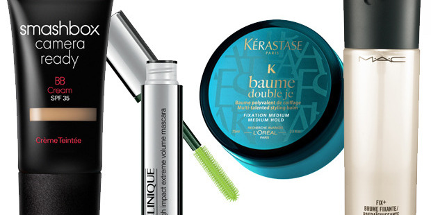 Smashbox BB cream, Clinique High Impact Extreme Volume Mascara, Kerastase Baume Double Je and M.A.C Fix Plus spray.