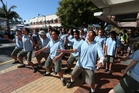 Whangarei Intermediate pupils perform a haka outside KiwiYo on Friday.