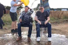 Tom Cruise and Chris McQuarrie get doused in ice. Photo/YouTube