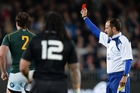 Referee Romain Poite was cast in the international wilderness after showing Bismarck Du Plessis a red card.