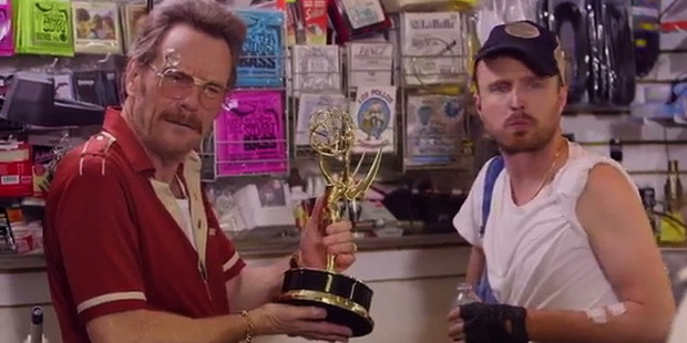 Breaking Bad's Bryan Cranston and Aaron Paul star in the Emmy promo video alongside Veep star Julia Louis-Dreyfus. Photo / Youtube