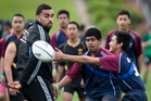 Liam Messam shows off his skills at yesterday's training session at Henderson. Picture / Greg Bowker