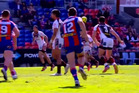 Footage shows James Bell step forward after playing the ball, and with blood visible around his mouth, spit at opposing Knights lock Joseph Boyce. Photo / YouTube