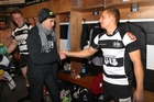 Azaleas Quenton, 12, meets his favourite Hawke's Bay Magpies player, Ihaia West. PHOTO/DUNCAN BROWN