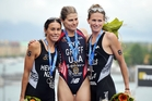 Kiwi triathletes Andrea Hewitt (left) and Nicky Samuels (right) finished second and third behind American Sarah Groff in the Stockholm triathlon.