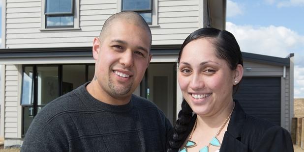 First-home buyers Wirihana and Lisa. Photo / Brett Phibbs