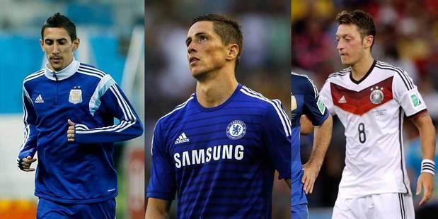Angel di Maria (left), Fernando Torres (C) and Mesut Ozil. Photo / AP