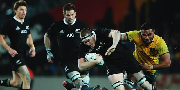 Brodie Retallick busts through a tackle during Saturday's Bledisloe Cup test match between the All Blacks and the Wallabies at Eden Park. Photo / Getty Images